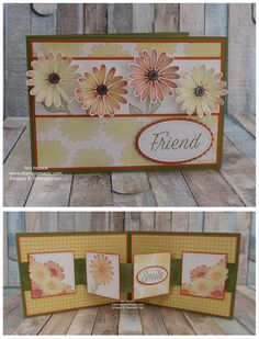 Stampin' Up! UK Demonstrator - Teri Pocock: Daisy Lane - Pop-Up Panel Card - Video Tutorial Fun Fold Cards, Pop Up Cards, Folded Cards, Origami Templates, Box Templates, Stampin Up Anleitung, Tarjetas Pop Up, Daisy, Step Cards