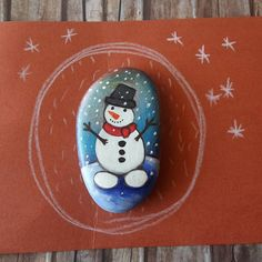 Snowman pebble art - handpainted stone - Christmas home decor - Christmas gift - One of a kind gift - handpainted with love