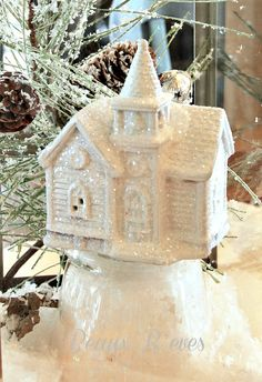 White spray paint & glitter over the colorful village house of Dollar Store. I & # … - Christmas Crafts Diy Christmas Villages, Noel Christmas, Winter Christmas, Vintage Christmas, Christmas Ornaments, Christmas Mantles, Victorian Christmas, Vintage Santas, Vintage Ornaments