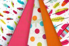 Indian feathers & dots cotton fabric set in white, fuchsia and orange / Zestaw indiański