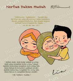 Rukun yaa menantu dan  mertua :) Reminder Quotes, Self Reminder, Islam Muslim, Allah Islam, Muslim Quotes, Islamic Quotes, Islamic Cartoon, Learn Islam, Islamic Pictures