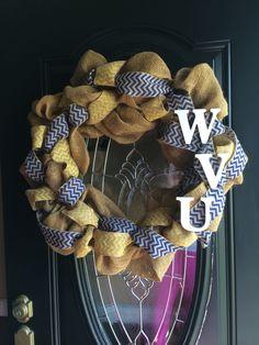 Chevron Burlap Wreath West Virginia University by yours truly :)