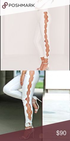 """carli bybel x missguided lace up trousers white SOLD OUT!! add a touch of fierce to your evening look with these all white cigarette trousers! with on trend lace up detailing to each side for a sexy style, all eyes will be on you - for all the right reasons! in a figure flattering fit sure to enhance your curves, team these beauts with barely there heels and bodysuit for luxe vibes!  approx inner leg length 75cm/29.5"""" (based on a uk size 8 sample)  95% polyester 5% elastane   machine…"""
