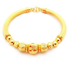 22K 23K 24K India Style Thai Baht Yellow Gold GP Bracelet Bangle B34 - Jewelry For Her