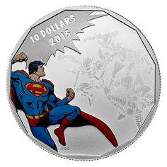 Canada 10 Dollars Silver Coloured Coin 2015 Superman - DC Comics Originals: Gauntlet The DC Comics™ Originals series has a classic, s. Clark Kent, Dc Comics, Superman Comic, Commemorative Coins, Man Of Steel, Coin Collecting, Silver Color, Canada, Stamp