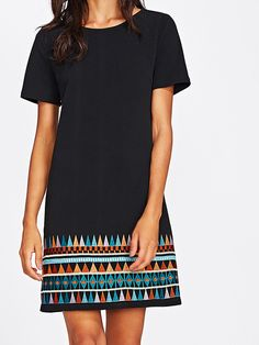 Aztec Embroidered Hem Dress -SheIn(Sheinside)