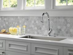 Delta Esque Pull Down Single Handle Kitchen Faucet with Diamond Seal and ShieldSpray Technology Finish: Chrome Kitchen Redo, Home Decor Kitchen, Kitchen Styling, Kitchen Backsplash, Kitchen And Bath, New Kitchen, Hexagon Backsplash, Backsplash Ideas, Kitchen Sink Faucets
