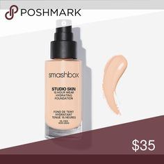 Smashbox Studio Skin 15 Hour Hydrating Foundation Smashbox Studio Skin 15 Hour Hydrating Foundation in 0.5 shade. Used once and can't return. Didn't like how it looked on me. I also still have the box. Looking for $35 because the bottle is still completely full but make me an offer. Smashbox Makeup Foundation