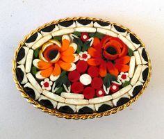 Vintage Italy Mosaic Art Glass Brooch Red by VintageByTiffinie