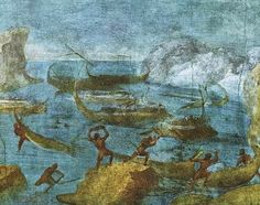 Second-Style wall painting, c. BC, from a house on the Esquiline Hill, Rome. Odyssey landscapes: the Lastrygonians / Laestrygonians attacking the ships of Odysseus / Ulysses. Tempera, Fresco, Jason And The Argonauts, Mural Painting, Paintings, 1st Century, Ancient Rome, Roman Empire, Pompeii
