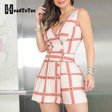 Sleeveless Grid Print Buttoned Romper Women's Best Online Shopping - Offering Huge Discounts on Dresses, Lingerie , Jumpsuits , Swimwear, Tops and More. Girly Outfits, Cool Outfits, Mode Statements, Deep V Dress, Trend Fashion, Diva Fashion, Woman Fashion, Fall Fashion, Rompers Women