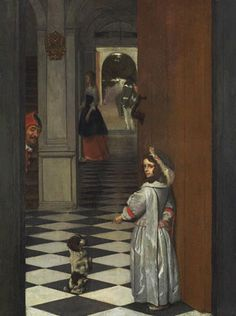 Gabriel Metsu, View Into a Hall with a Jester, a Girl and her Dog