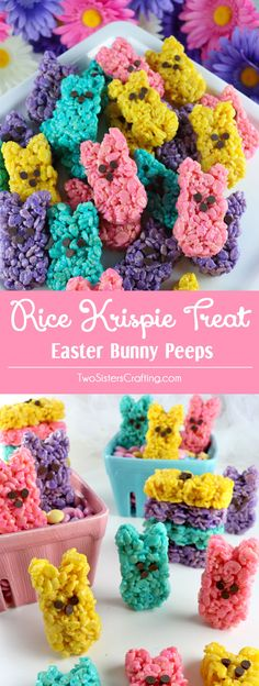 Rice Krispie Treat Easter Bunny Peeps are so easy to make and will be fun Easter treats at your Easter Sunday Brunch. The kids will love these colorful Springtime Rice Krispie Treats that are in the shape of Easter Peeps. Follow us for more great Easter Dessert Ideas.