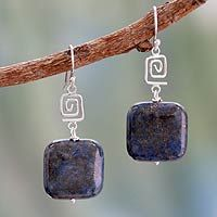 Lapis lazuli dangle earrings, 'Modern Royal' - Lapis Lazuli and Sterling Silver Earrings Modern Jewelry