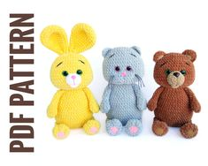 3 CROCHET PATTERN: Bunny, Cat & Bear, Amigurumi crochet pattern, Crochet Stuff animal pattern, Crochet rabbit, kitty, teddy bear toy pattern