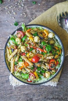 pastasalade Pesto Pasta, Pasta Salad, Paella, Foodies, Healthy, Ethnic Recipes, Dressing, Mushroom, Salads