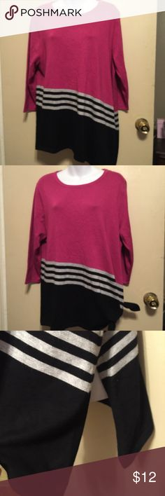 New Direction sweater with side open to tie . NWOT 70 % rayon, 30% polyester .length is 29 inches. 22 inches underarm to underarm . Color is a fuchsia & black with gray stripes. Sleeves are 3/4 inch new directions Sweaters Crew & Scoop Necks