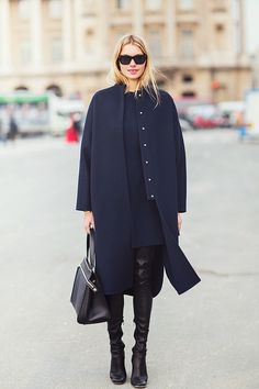 Black boots  & Navy coat, #minimalist #fashion #style