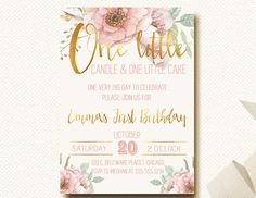 One Little Candle Invitation.  First Birthday Invitation.  Girls First Birthday.  Floral Party.