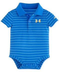 Made from lightly-textured fabric and featuring a durable ribbed collar, this tone-on-tone blue stripe polo-style bodysuit from Under Armour makes an excellent addition to baby boy's casual wear colle