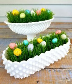 Upcycle and repurpose your vintage hobnail milk glass dishes by using them for this sweet and simple, 5-minute Easter craft! Simply fill each dish with artificial grass and colorful Easter eggs- that's it, you're all ready for Spring and Easter! Fun and easy project from Sadie Seasongoods / www.sadieseasongoods.com .