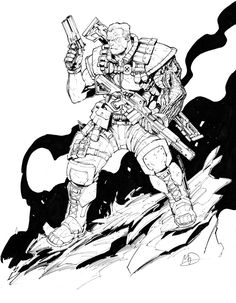 Cable by Max-Dunbar on DeviantArt - Coloring Warriors - Populer Tattoo Pin Share Character Concept, Character Art, Character Design, Cable Marvel, Cable Xmen, Cyberpunk, Battle Mage, Comic Face, Young Avengers