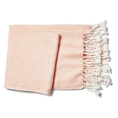 Herringbone Throw Peach Throws ($243) ❤ liked on Polyvore featuring home, bed & bath, bedding, blankets, woven throw, brahms mount throw, woven throw blanket, brahms mount and plush throw
