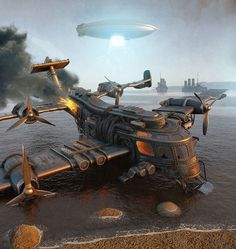 #steampunk aircraft down in flames - 25kartinok