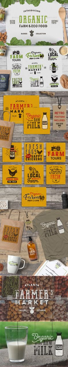 Organic Farm & Eco Food Badges - Templates PSD, Vector EPS, AI Illustrator