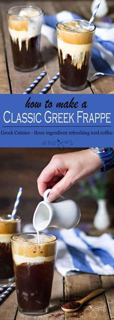Classic Greek frappe is a refreshing ice coffee with only three ingredients and made in minutes