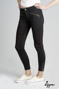 Women's Black Zipper Organic Sateen Jeans WAS £65 NOW £40 Available Now at Monkeegenes.com