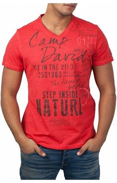 Camp David Camp David ® T-Shirt Nature Denim T Shirt, Shirt Jacket, Teen Jackets, Camp David, Camping Outfits, Boys T Shirts, Printed Shirts, Graphic Tees, Dresses For Work