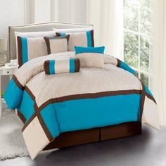 Amazon.com - Chic Home Odessa 7-Piece Comforter Set, Queen, Turquoise - Turquoise And Brown Bedding