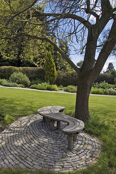 I could just have easily pinned this wooden curving bench with matching curved paving onto my board 'Focal Points & Features' - a most attractive combination. Garden Seating, Garden Chairs, Garden Furniture, Garden Benches, Garden Trees, Garden Paths, Garden Landscaping, Bench Around Trees, Tree Bench