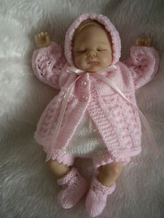 """HAND KNITTED DOLLS CLOTHES FOR 10-11"""" REBORN,OOAK BABY"""