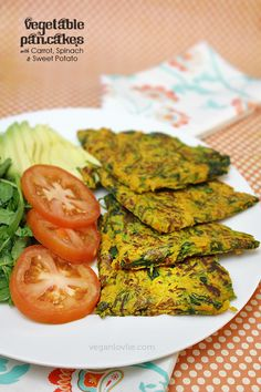 Chickpea/garbanzo bean flour Vegetable Pancakes with Carrot, Spinach and Sweet Potato (sub squash or pumpkin) | Vegan + Gluten-free
