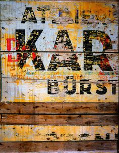 Industrial Vintage Typography Fine Art Photography Wall Decor Print Rust Wood Yellow Red Black Warm Colors
