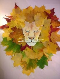 Loukoumiaou: Activités avec feuilles d'automne – tête de lion et crinière … Loukoumiaou: Aktivitäten mit Herbstlaub # 2 – Kopf und Mähne des Löwen in Blättern Kids Crafts, Leaf Crafts, Toddler Crafts, Arts And Crafts, Preschool Crafts, Autumn Crafts, Autumn Art, Nature Crafts, Autumn Leaves