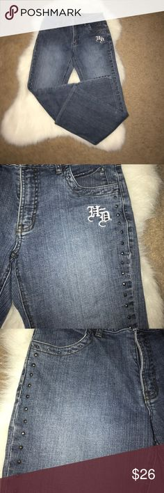 Super cute Harley Davidson blue jeans Super cute Harley Davidson blue jeans with cute pegs on the pockets and going down the side of the jeans. Gently used Harley-Davidson Jeans Boot Cut