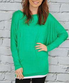 Look what I found on #zulily! Kelly Green Dolman Top by Olivia & Jane #zulilyfinds