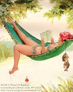 HILDA (pin-up series 1950s-1970s) by Duane BRYERS (Artist. USA,1911-2012) © Brown & Bigelow ... Bikini-clad Hilda languorously reads a novel, fishes for dinner, and beats the summer heat all from her shady hammock. What a clever girl. -pfb :-)   ... Artist Obituary - Just a month shy of 101! http://azstarnet.com/news/local/artist-duane-bryers-life-in-broad-strokes/article_de60f658-f833-5bf1-890d-cfdc7519811c.html