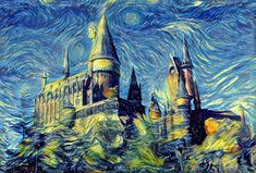 Hogwarts Tapestry, Starry Night Tapestry, Harry Potter Tapestry, Hogwarts Castle Tapestry, Harry Potter Art, Hogwarts Art, Van Gogh by ArtfyArtistNetwork on Etsy https://www.etsy.com/listing/578027321/hogwarts-tapestry-starry-night-tapestry