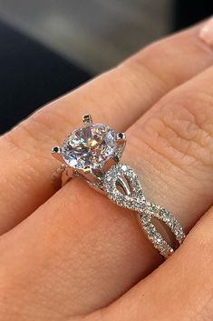 30 Fantastic Engagement Rings 2018 ❤️ rings twisted band with diamond round cut diamond ❤️ See more: http://www.weddingforward.com/rings-2017/ #weddingforward #wedding #bride #engagementrings