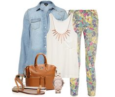 Denim Shirt | Classic Washed-silk Tank | Floral Skinny Cropped Jeans | Chloe Metal and Leather Sandals | Zip Pocket Satchel | Marc Jacobs Rose Gold Watch | Diva Spiked Necklace (similar)