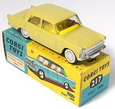 Corgi Toys 217 Fiat 1800 hard to find mustard finish with saffron yellow interior