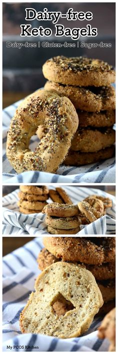 My PCOS Kitchen - Dairy-free Keto Bagels - These bagels are gluten-free, wheat-free and starch-free! Perfect for breakfast or lunch! via bagels psyllium My PCOS Kitchen - Dairy-free Keto Bagels Keto Bagels, Keto Bread, Keto Donuts, Keto Friendly Desserts, Low Carb Desserts, Dairy Free Recipes, Low Carb Recipes, Paleo Recipes, Bread Recipes
