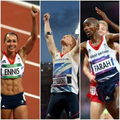 3 Gold Medals London Olympics 2012.  Well Done Jessica Ennis, Greg Rutherford & Mo Farah.