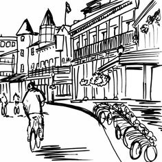 Belle & Union Co. illustration of Mackinac Island, Michigan, where the residents of this small island town get around on foot and bicycles - no cars allowed here!