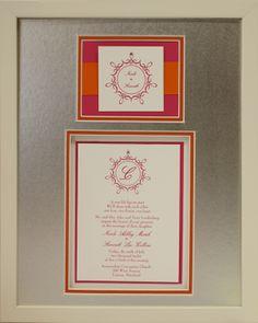 Framed Wedding Invitation in Shadowbox Frame