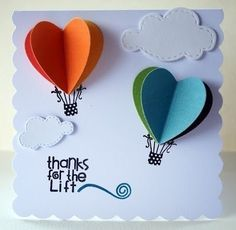 Diy crafts cards air balloon 50 Ideas for 2019 Diy And Crafts, Crafts For Kids, Paper Crafts, Diy Paper, Origami Paper, Cute Cards, Diy Cards, Ideias Diy, Creative Cards